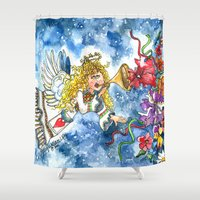 angel Shower Curtains featuring Angel by Shelley Ylst Art