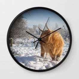 Blonde Highland Cow Wall Clock