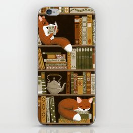 fox bookshelf iPhone Skin