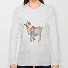 goat with flower crown Long Sleeve T-shirt