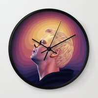 drums Wall Clocks featuring The Sound of Drums by Kristine Harbek