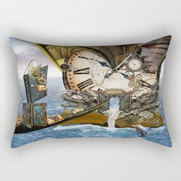 Steampunk Ocean Dragon Library Rectangular Pillow