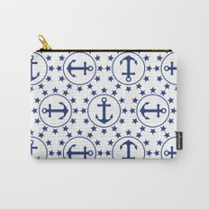 Navy Blue Anchors and Stars Nautical Pattern Carry-All Pouch
