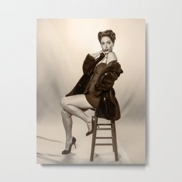 """""""Show a Little Shoulder"""" - The Playful Pinup - Vintage Pin-up Girl in Coat by Maxwell H. Johnson Metal Print"""