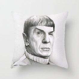 Spock Leonard Nimoy Portrait Throw Pillow