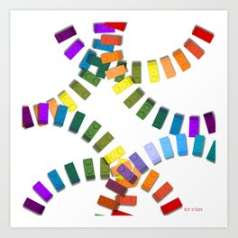 Colorful interlocking block pattern Art Print
