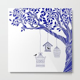 Swirlling Tree Patern in Tones of Blue with Leaves and Birds Metal Print