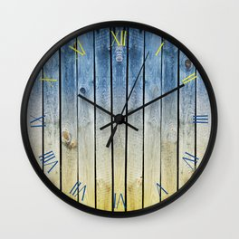 Yellow blue toned boards texture Wall Clock