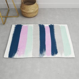 Stripes painterly pastel trendy color way throwback retro palette 80s 90s style Rug