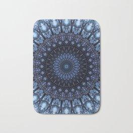 Dark and light blue mandala Bath Mat