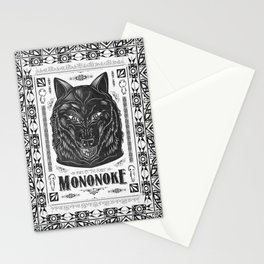 Mononoke Hime Wolf Pride Letterpress Line Work Stationery Cards