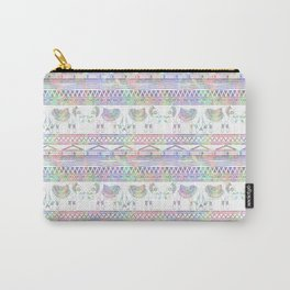 Pastel Elephant Tribal Pattern Carry-All Pouch