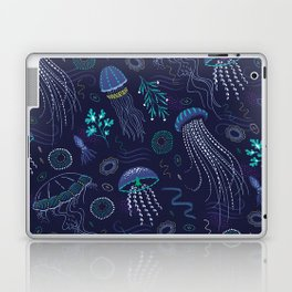 Into the Deep Jellies - Navy Laptop & iPad Skin