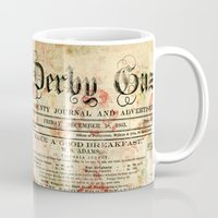 newspaper Mugs featuring Vintage newspaper grunge by MJ'designs - Marosée Créations