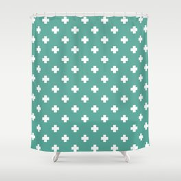 White Swiss Cross Pattern on Green Blue background Shower Curtain