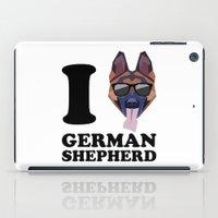 german shepherd iPad Cases featuring I Love German Shepherd modern v1 by Vehicle