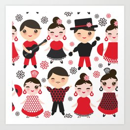 Spanish flamenco dancer. Kawaii cute face with pink cheeks and winking eyes. Gipsy Art Print