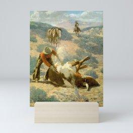 """Branding a Steer"" by Frank Tenney Johnson Mini Art Print"
