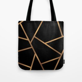 Black and Gold Fragments - Geometric Design Tote Bag