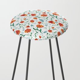 Watercolor floral - deep oranges Counter Stool