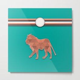 Teal and Orange Lion Stripes Animal Design Pattern Metal Print
