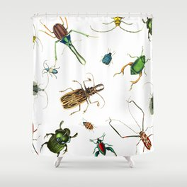 Bug Life - Beetles - Bugs - Insects - Colorful - Insect Pattern Shower Curtain