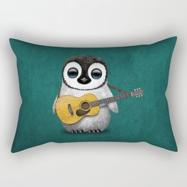 Musical Baby Penguin Playing Acoustic Guitar on Teal Blue Rectangular Pillow