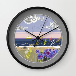 Sea landscape with wildflowers and ferry boat Wall Clock
