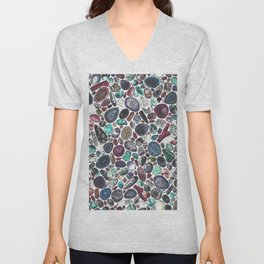 MIXED GEMSTONES ON WHITE Unisex V-Neck