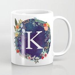 Personalized Monogram Initial Letter K Floral Wreath Artwork Coffee Mug