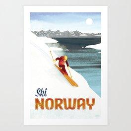 Ski Norway Vintage Travel Poster Art Print