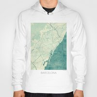 barcelona Hoodies featuring Barcelona Map Blue Vintage by City Art Posters