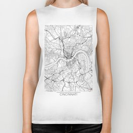 Cincinnati Map White Biker Tank