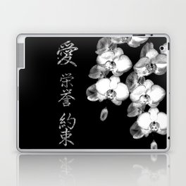 Japanese Orchids in Black Laptop & iPad Skin