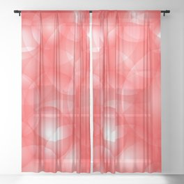 Gentle intersecting red translucent circles in pastel colors with a ruby glow. Sheer Curtain