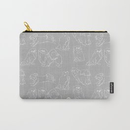 Nordic Chic White Tibbies on Light Grey Minimalist Outline Pattern Carry-All Pouch