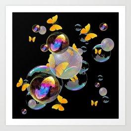 SURREAL GOLDEN YELLOW BUTTERFLIES  & SOAP BUBBLES Art Print