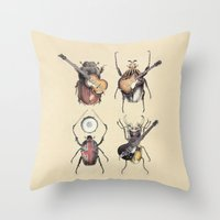 pop Throw Pillows featuring Meet the Beetles by Eric Fan