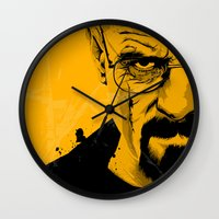 breaking bad Wall Clocks featuring Breaking Bad by The Art Warriors