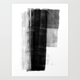 Monolith - Black and White Minimalist Abstract Monotype Art Print