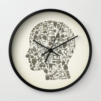 medicine Wall Clocks featuring Head medicine by aleksander1