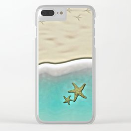 SANDY BEACH & STARFISH Clear iPhone Case
