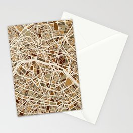 Paris France Street Map Stationery Cards