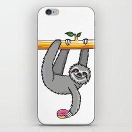 Sloth loves donut iPhone Skin