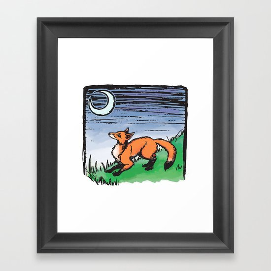 Fox and the Moon Framed Art Print