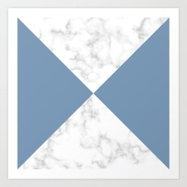 diagonal tiles marble blue pattern Art Print
