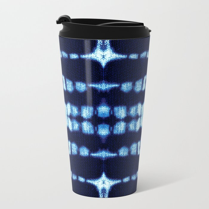 Tie-Dye Boho Knit Metal Travel Mug