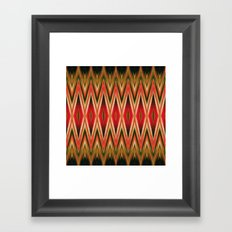 Orange Green Red Zigzag Abstract Pattern Framed Art Print