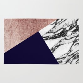 Modern Marble Rose Gold and Navy Blue Tricut Geo Rug
