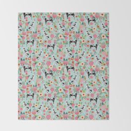 Great Dane dog breed florals mint pattern print for dog owner with great dane must have gifts Throw Blanket